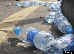 Discarded plastic water bottles on route of London Marathon